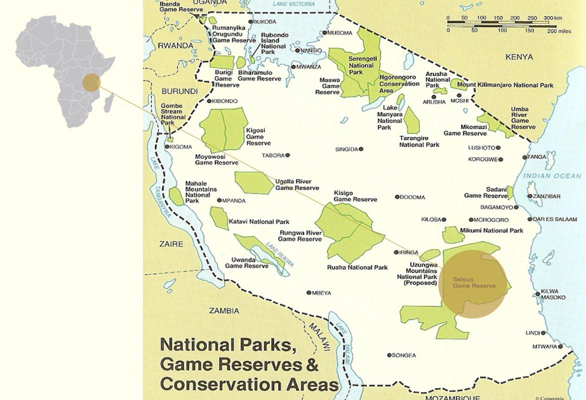 map-selous-tanzania-africa